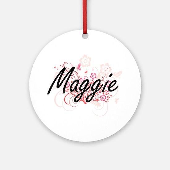 Maggie Artistic Name Design with Fl Round Ornament
