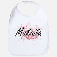 Makaila Artistic Name Design with Flowers Bib