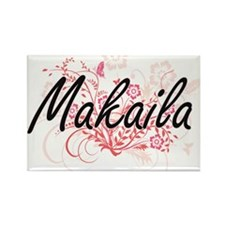 Makaila Artistic Name Design with Flowers Magnets