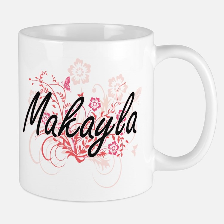 Makayla Artistic Name Design with Flowers Mugs