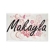 Makayla Artistic Name Design with Flowers Magnets