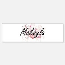 Makayla Artistic Name Design with F Bumper Car Car Sticker