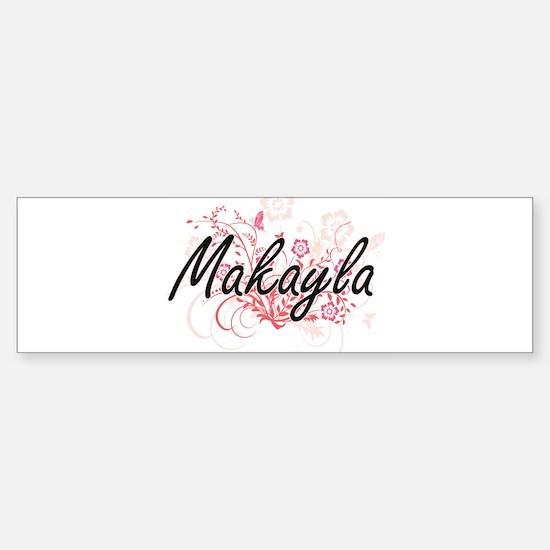 Makayla Artistic Name Design with F Bumper Car Car Sticker