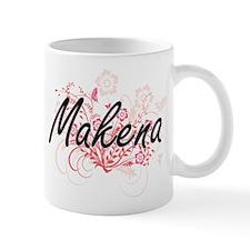 Makena Artistic Name Design with Flowers Mugs