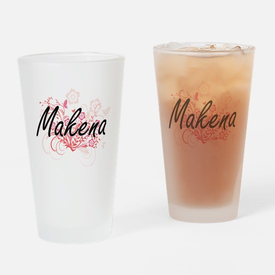 Makena Artistic Name Design with Fl Drinking Glass