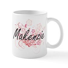 Makenzie Artistic Name Design with Flowers Mugs