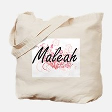 Maleah Artistic Name Design with Flowers Tote Bag