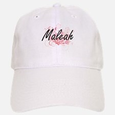 Maleah Artistic Name Design with Flowers Baseball Baseball Cap