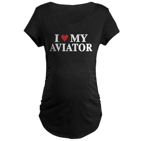 Love My Aviator Maternity Dark T-Shirt