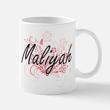Maliyah Artistic Name Design with Flowers Mugs