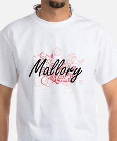 Mallory Artistic Name Design with Flowers T-Shirt