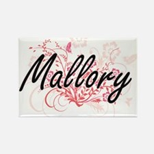 Mallory Artistic Name Design with Flowers Magnets