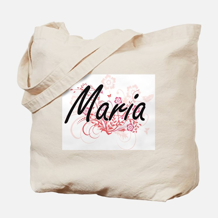 Maria Artistic Name Design with Flowers Tote Bag