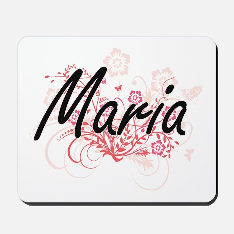 Maria Artistic Name Design with Flowers Mousepad