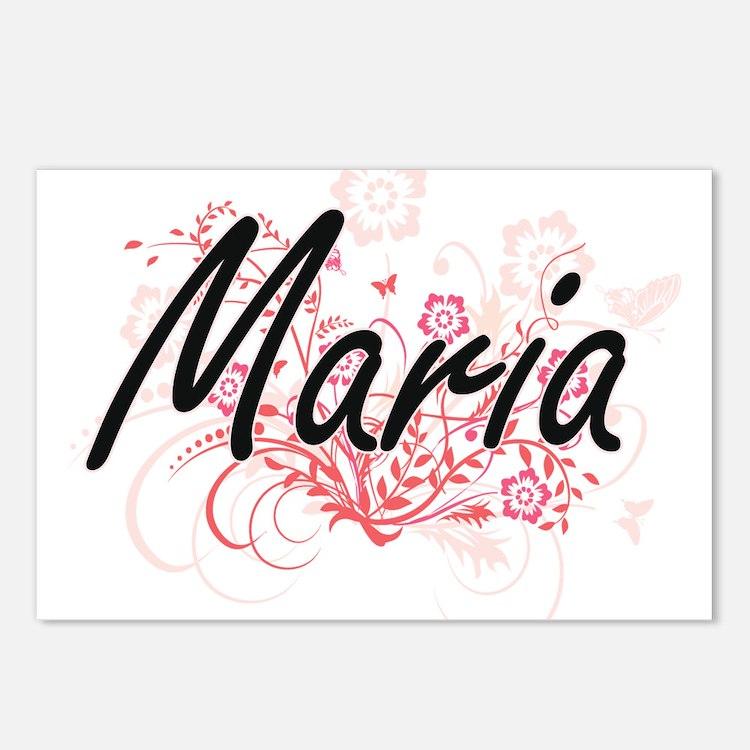 Maria Artistic Name Desig Postcards (Package of 8)
