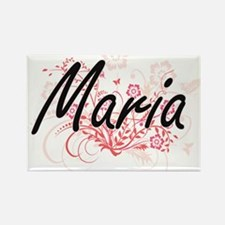 Maria Artistic Name Design with Flowers Magnets
