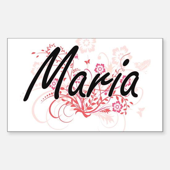 Maria Artistic Name Design with Flowers Decal
