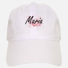 Maria Artistic Name Design with Flowers Baseball Baseball Cap