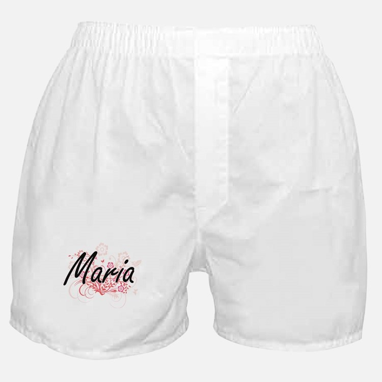 Maria Artistic Name Design with Flowe Boxer Shorts