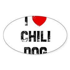 I * Chili Dog Oval Decal