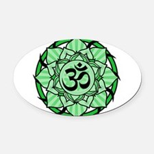 aum-green.png Oval Car Magnet