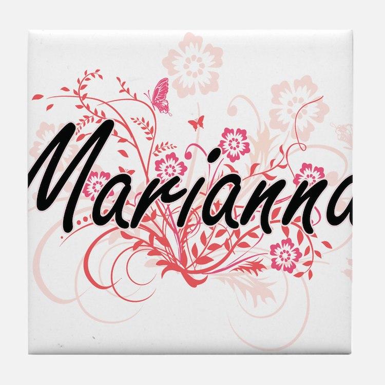 Marianna Artistic Name Design with Fl Tile Coaster