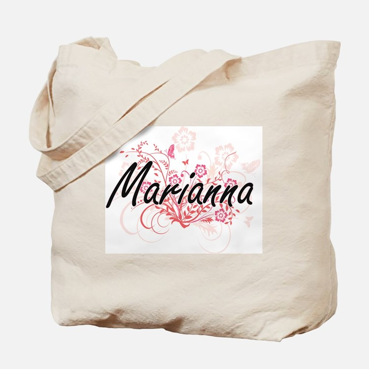 Marianna Artistic Name Design with Flower Tote Bag