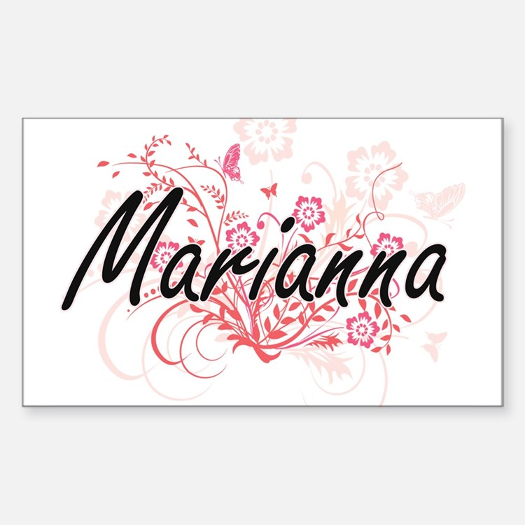 Marianna Artistic Name Design with Flowers Decal