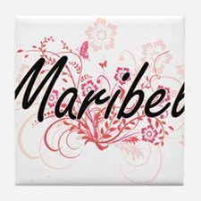 Maribel Artistic Name Design with Flo Tile Coaster