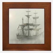 Grey, Gray Fog Pirate Ship Framed Tile