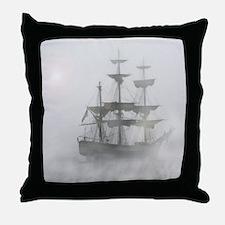 Grey, Gray Fog Pirate Ship Throw Pillow