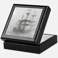 Grey, Gray Fog Pirate Ship Keepsake Box