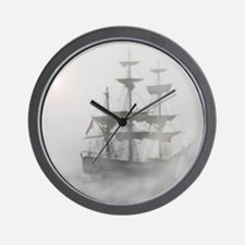 Grey, Gray Fog Pirate Ship Wall Clock