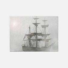Grey, Gray Fog Pirate Ship 5'x7'Area Rug