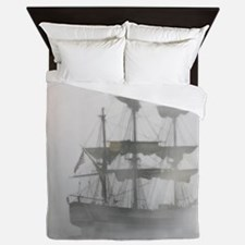 Grey, Gray Fog Pirate Ship Queen Duvet
