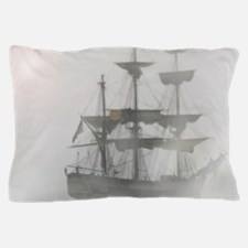 Grey, Gray Fog Pirate Ship Pillow Case