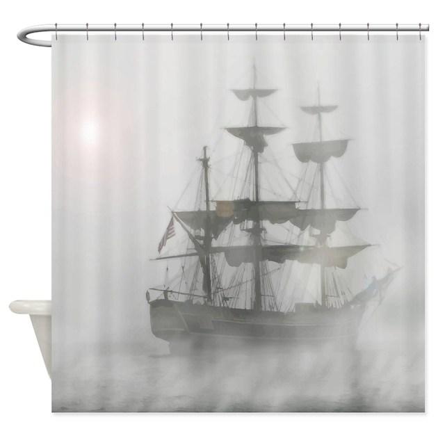 Grey, Gray Fog Pirate Ship Shower Curtain by barkettc