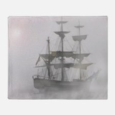 Grey, Gray Fog Pirate Ship Throw Blanket