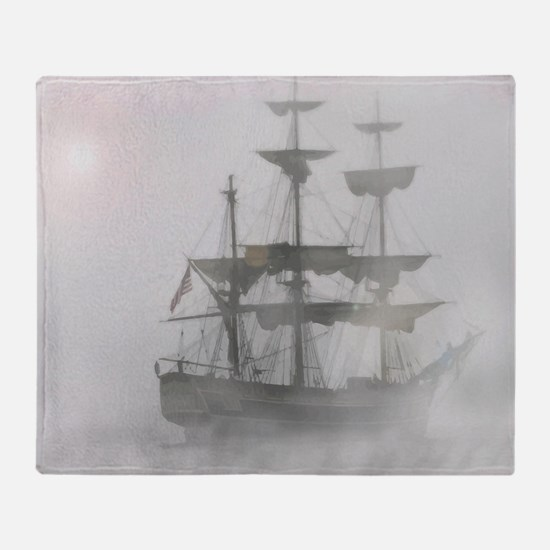 Grey, Gray Fog Pirate Ship Throw Blanket