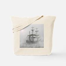 Grey, Gray Fog Pirate Ship Tote Bag