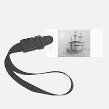 Grey, Gray Fog Pirate Ship Luggage Tag