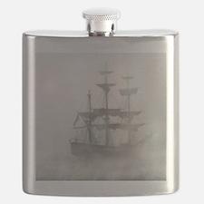 Grey, Gray Fog Pirate Ship Flask