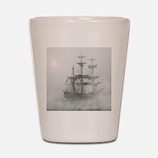 Grey, Gray Fog Pirate Ship Shot Glass