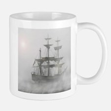 Grey, Gray Fog Pirate Ship Mugs