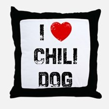 I * Chili Dog Throw Pillow