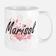 Marisol Artistic Name Design with Flowers Mugs