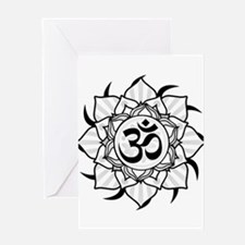 aum-grey Greeting Cards