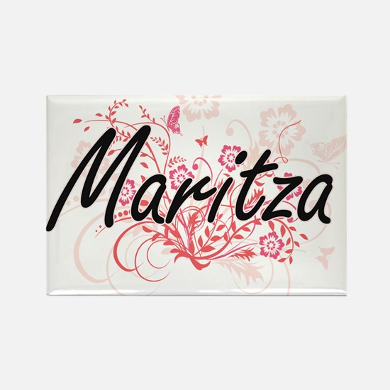 Maritza Artistic Name Design with Flowers Magnets