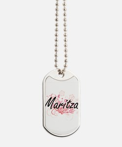 Maritza Artistic Name Design with Flowers Dog Tags