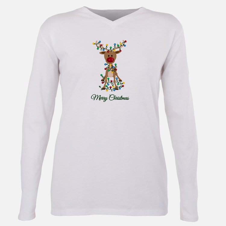 Cute Rudolph Plus Size Long Sleeve Tee
